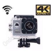 4k Ultra HD sports action camera met lcd scherm en Wifi - zilver